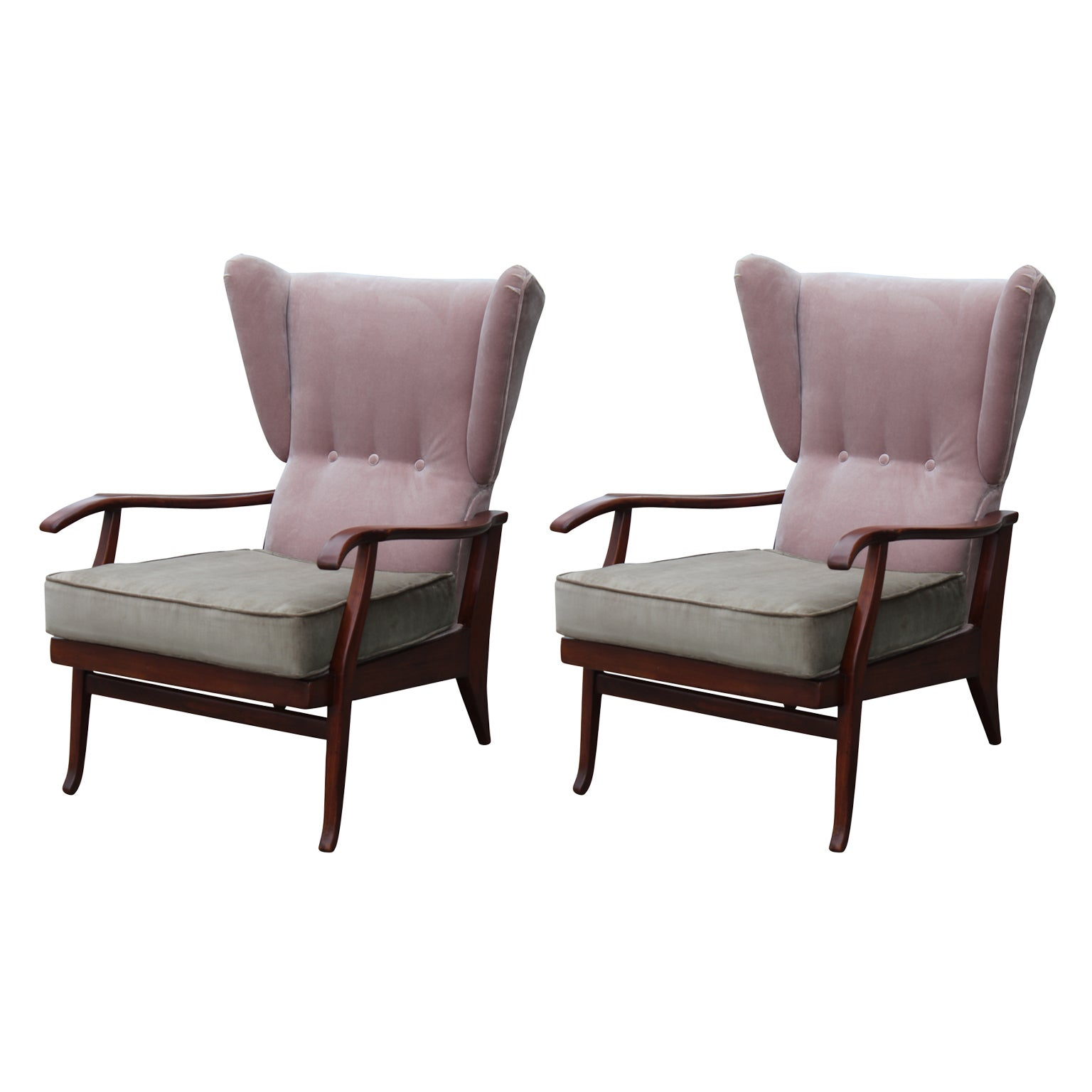 Wingback Recliner Chair Pair Of Modern Pink Taupe Italian Wingback Reclining Chairs Paolo Buffa Style