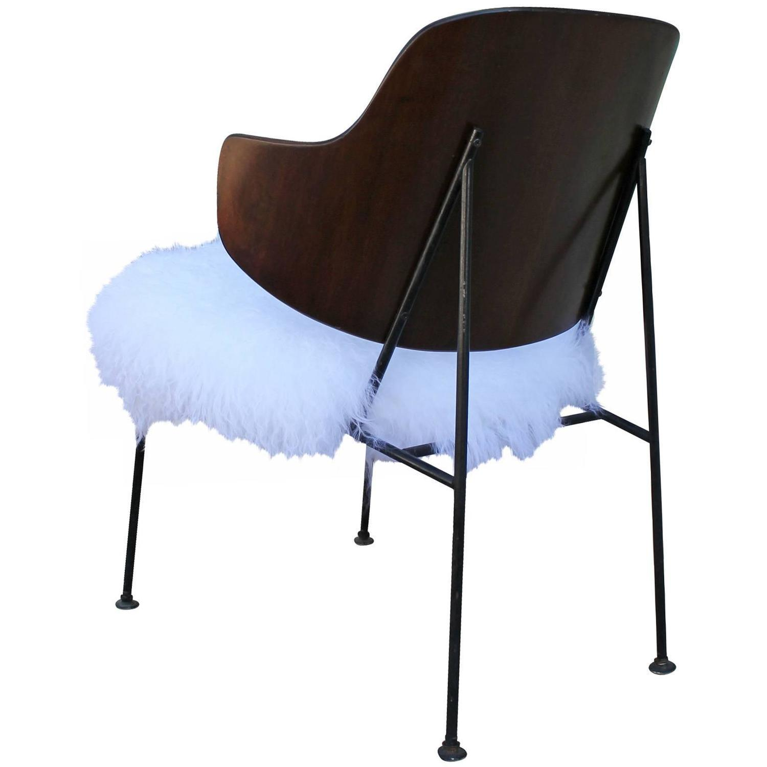 Furry Chairs Sculptural Kofod Larsen Penguin Chair In Curly Fur At 1stdibs