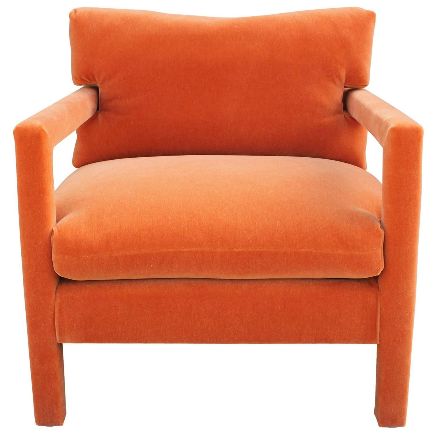 orange parsons chair ikea price fabulous pair of milo baughman style chairs in