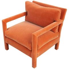 Orange Parsons Chair Wingback Reclining Chairs Fabulous Pair Of Milo Baughman Style In