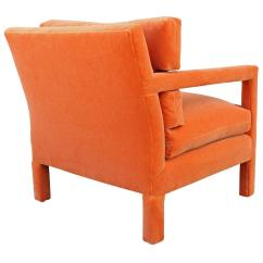 Orange Parsons Chair Wicker Chairs Uk Fabulous Pair Of Milo Baughman Style In