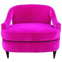 Glamorous Fuchsia Pink Velvet Lounge Chair at 1stdibs
