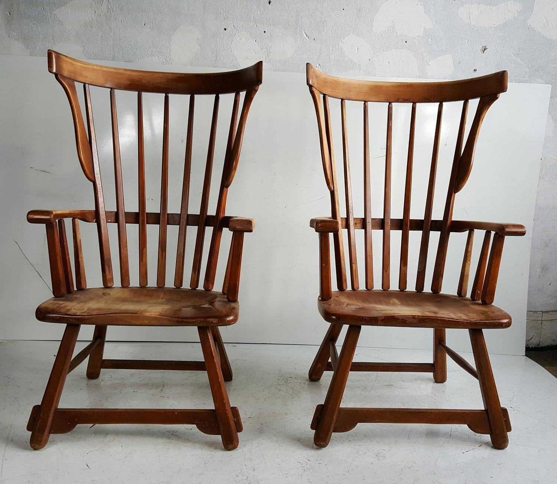 oversized arm chair ergonomic one utama pair of maple wood windsor fan back chairs