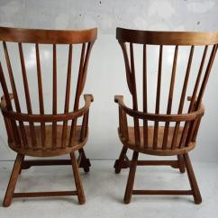 Swivel Chair In Spanish Nice Gaming Chairs Pair Of Oversized Maple Wood Windsor Fan Back Arm At 1stdibs