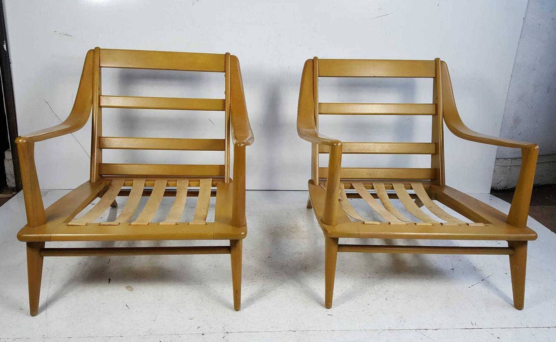 heywood wakefield chairs folding adirondack chair pair of streamline modern lounge