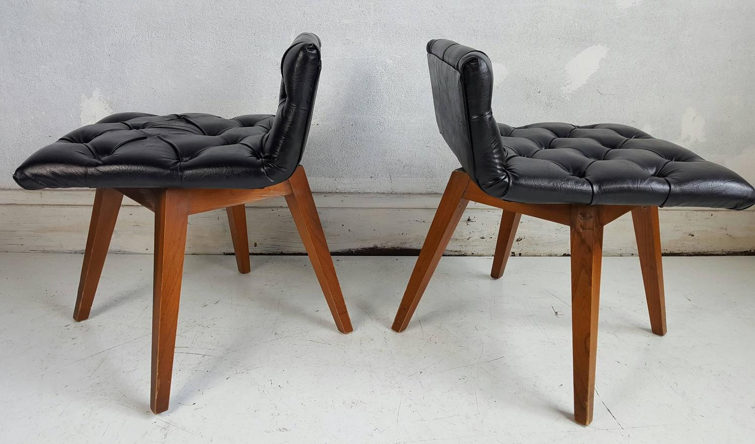 swivel chair for vanity game table sets with chairs pair of button tufted or stools at