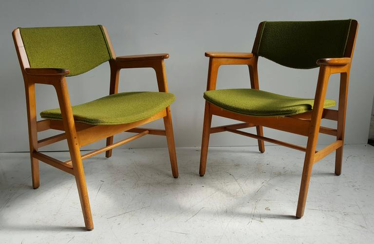 wh gunlocke chair covers for celebrations essex classic mid century modern armchairs manufactured by w h birch maple wood frames