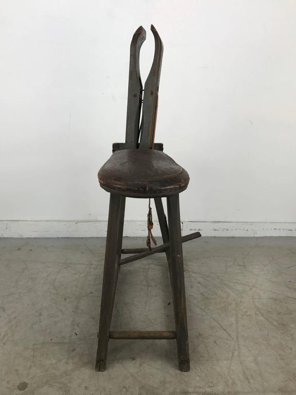 Antique Sculptural Harness Saddle Repair Bench Circa
