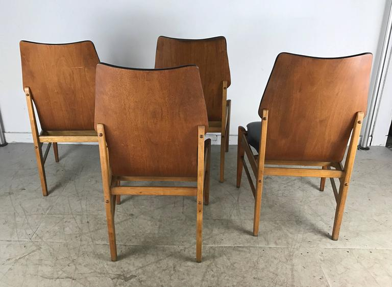 mid century dining chairs dorm walmart set of four modern high back in walnut by american lane
