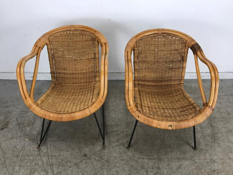 Pair Of Mid Century Modern Wicker And Iron Lounge Chairs