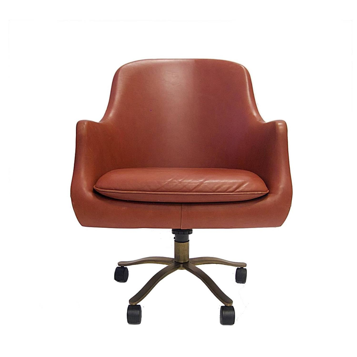 chair steel base with wheels pink tufted nico zographos red leather english office desk