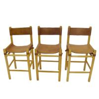 Leather with Buckles Safari Style Bar Stools in the Manner ...
