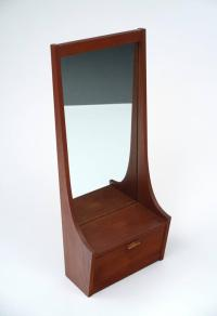 Mid-Century Modern Entryway Mirror with Shelf and Cabinet ...