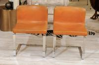 Pair of French Mid-Century Modern Leather and Chrome ...