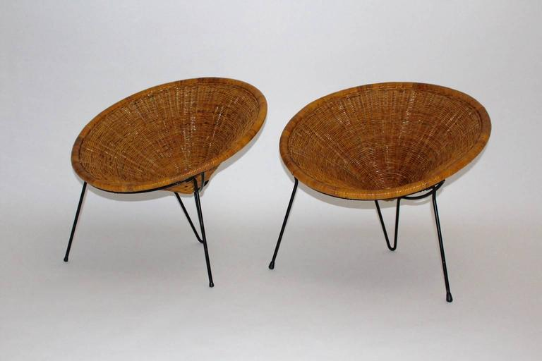 rattan garden chairs and table navy blue wedding chair sashes mid century modern vintage by roberto mango this pair of outstanding amazing cone shaped designed