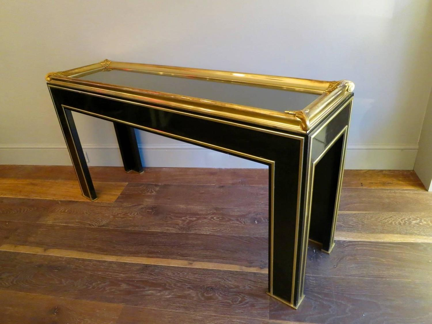 black lacquer sofa table chairs canada french lacquered and gilt brass console for