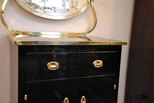 Mirrored Chest Of Drawers Stained Black 1stdibs