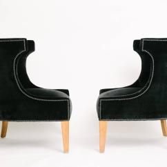 Black Barrel Chair Modern Club Pair Of Back Velvet Chairs At 1stdibs