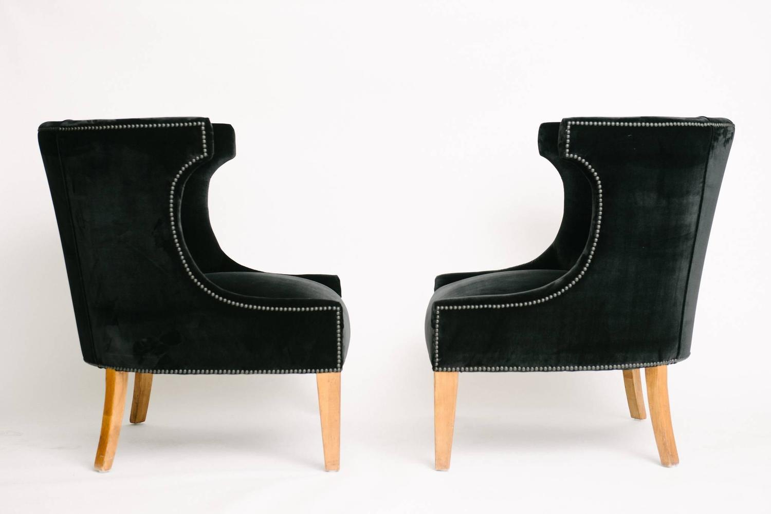 black barrel chair beach chairs with wheels pair of back velvet club at 1stdibs