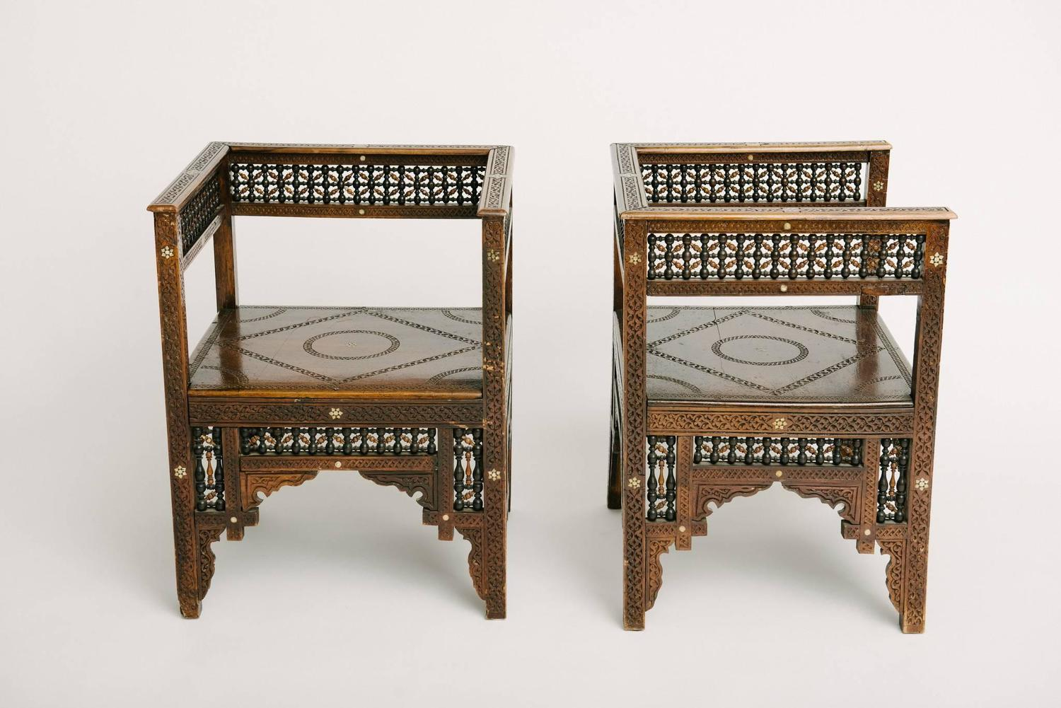 Pair of Carved Moroccan Chairs at 1stdibs