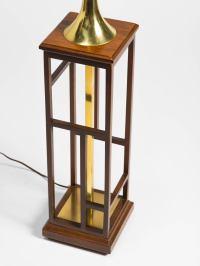 Asian Style Wood and Brass Table Lamp For Sale at 1stdibs