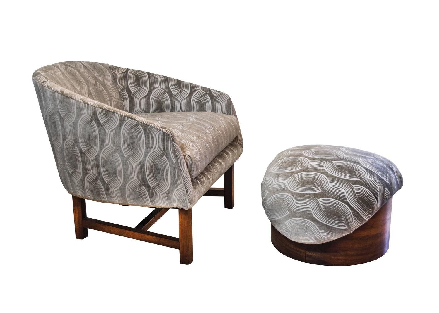 MidCentury Modern Reading Chair and Ottoman For Sale at