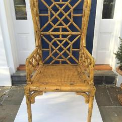 Leather Bergere Chair And Ottoman Ribbed Office Pair Of Chinoiserie Wingback Chairs At 1stdibs
