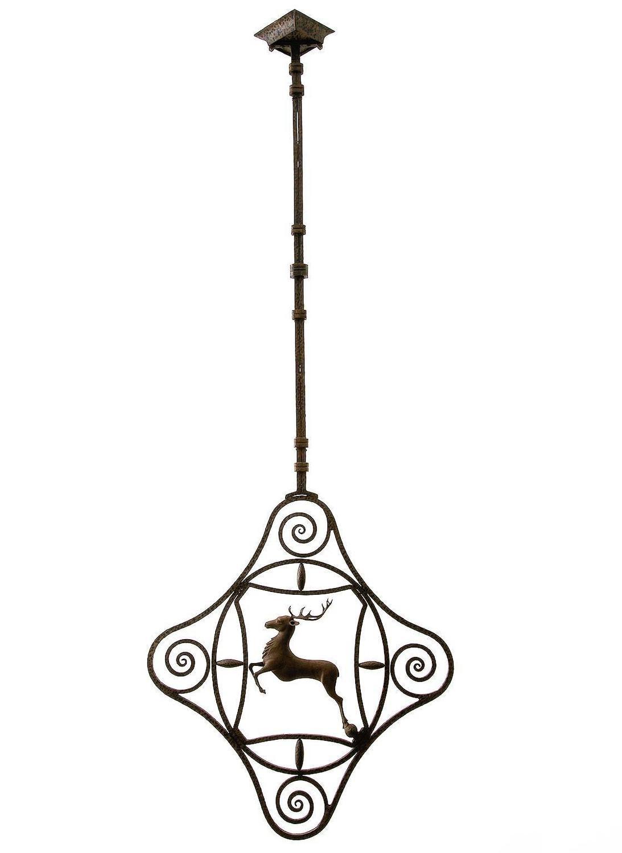 Antique Light Sculpture Wrought Iron Deer Austria