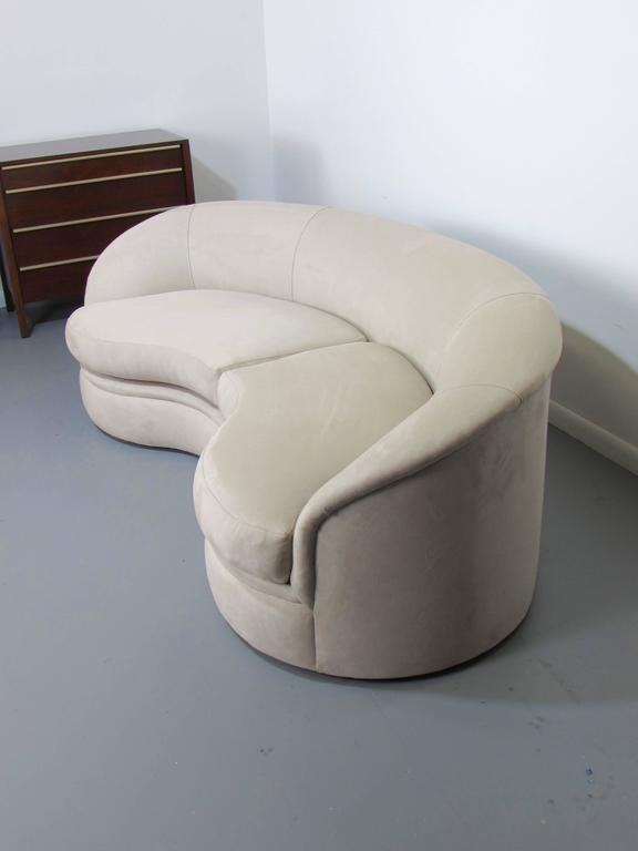 velvet sectional sofa living room with brown leather biomorphic kidney bean shaped by vladimir kagan for ...