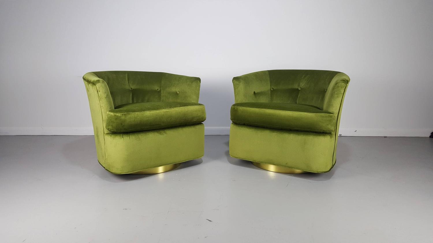 green velvet swivel chair upholstered armless lounge chairs in with polished bronze