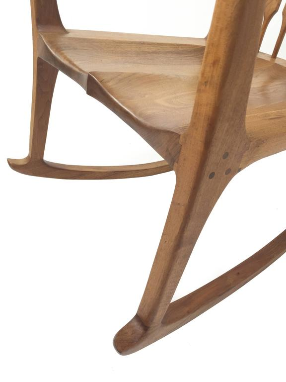midcentury rocking chair black wire uk american walnut craft rocker in the manner of sam maloof at 1stdibs
