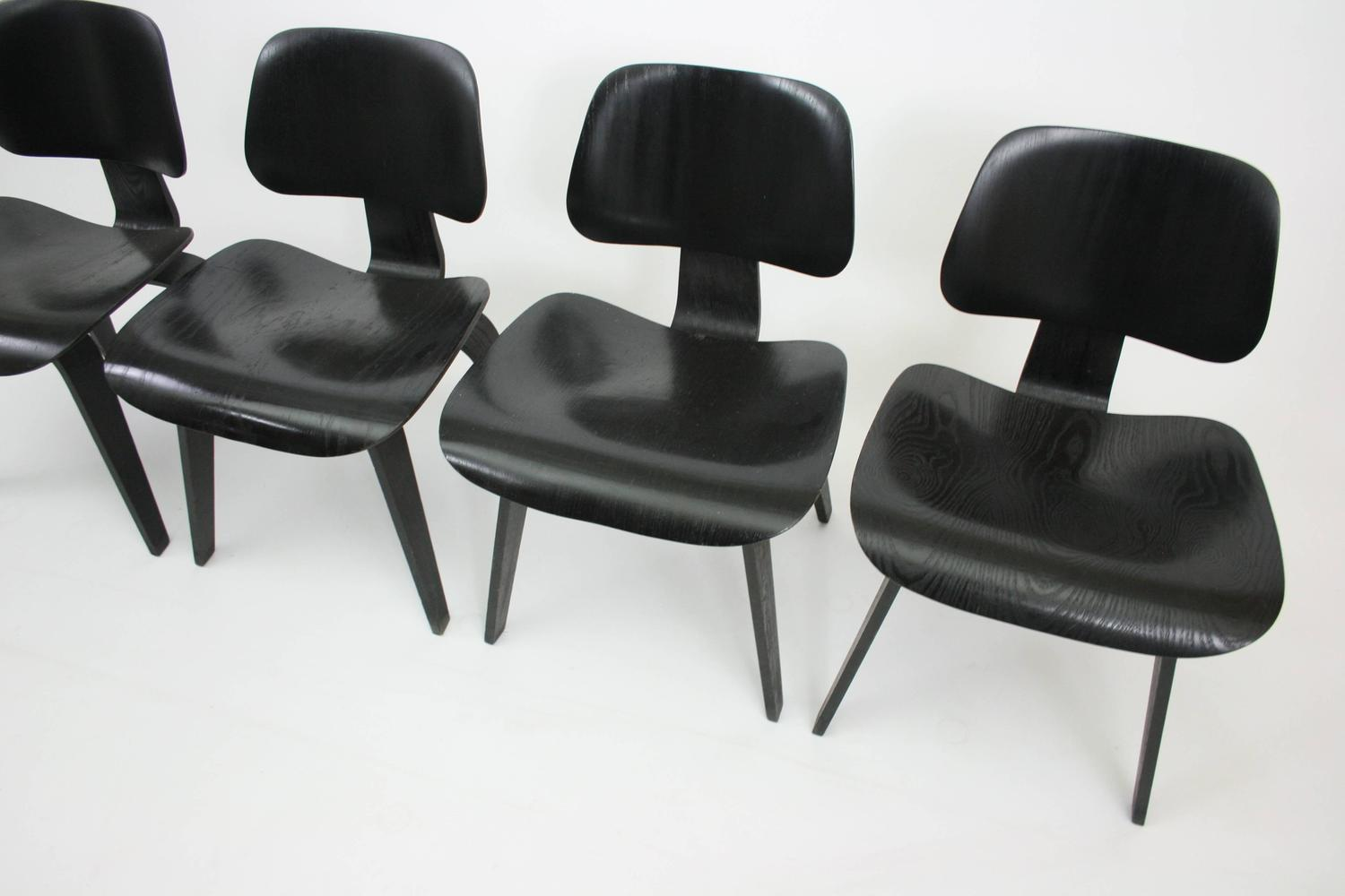 Due North Chairs Set Of Four Early Dcw Chairs By Eames For Evans Products