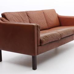 Chestnut Colored Leather Sofa Liquidation Sofas Ireland Brown Danish Mid Century Modern