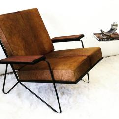Cowhide Chairs Modern Folding Spectator Sculptural Iron And Lounge Chair Danish