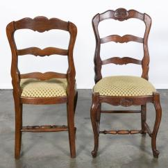 Country French Chairs Upholstered Dental Chair Technician Jobs Set Of Six Ladder Back With Seats At 1stdibs