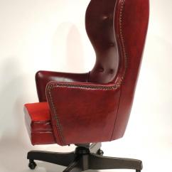 Wingback Office Desk Chair Linen Dining Seat Covers Leather Rolling By Schafer Bros At 1stdibs