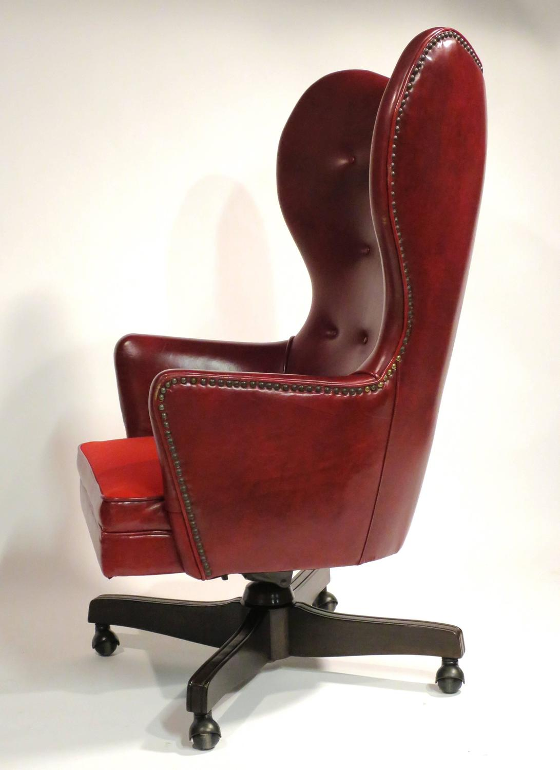 rolling chairs for office handicap sliding bath chair leather wingback by schafer bros at 1stdibs