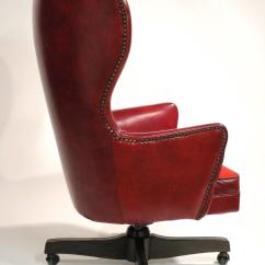 Wingback Office Desk Chair White Saucer Leather Rolling By Schafer Bros At 1stdibs