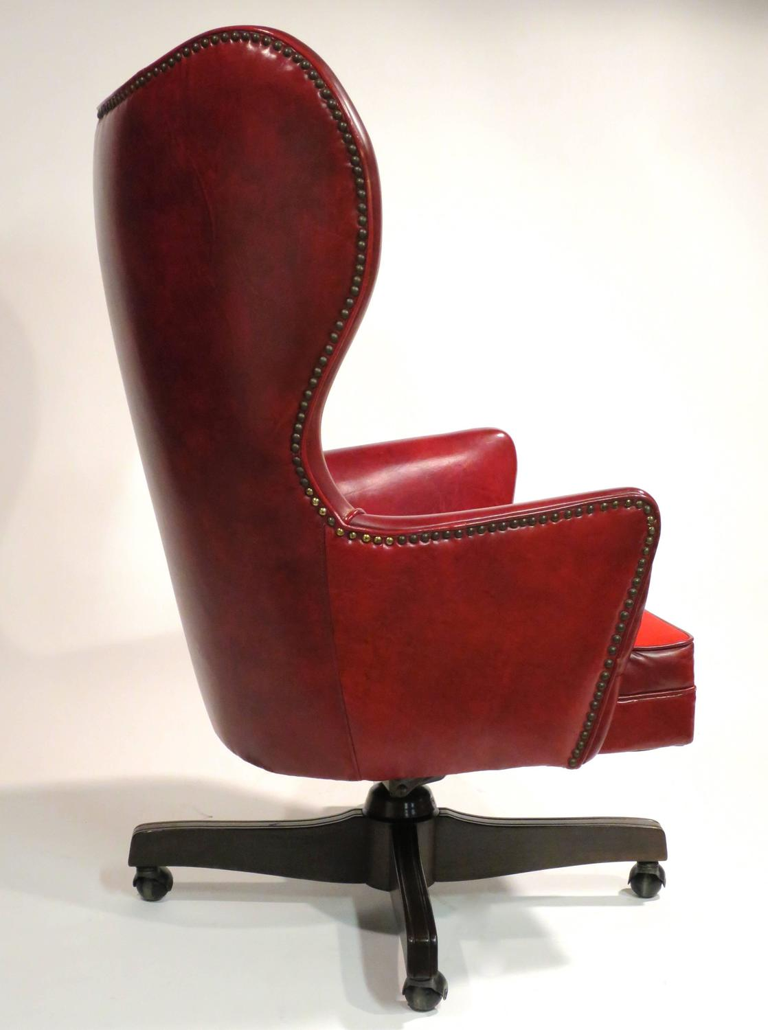 Wingback Office Chair Leather Wingback Rolling Chair By Schafer Bros At 1stdibs