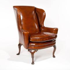Quality Leather Dining Chairs Wood Lounge Superb 19th Century Antique Wing Chair At