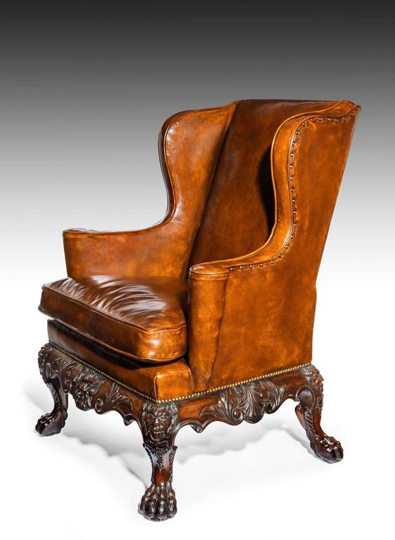 Handsome Late Victorian Leather Carved Wing Chair at 1stdibs