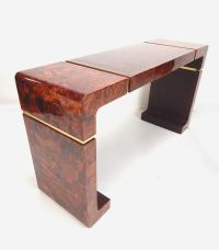 Mid-Century Lacquered Burl Wood and Brass Console Hall ...