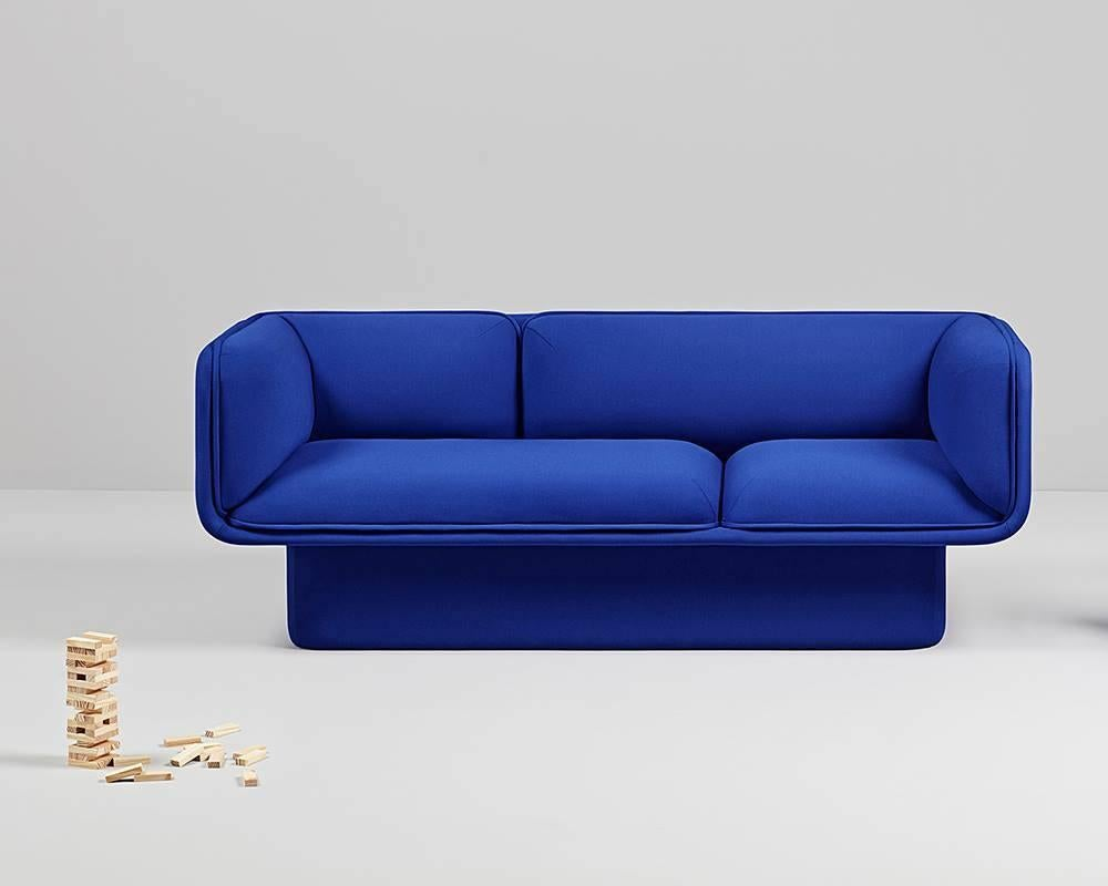 electric blue velvet sofa fit bay window block sofa, studio mut for sale at 1stdibs