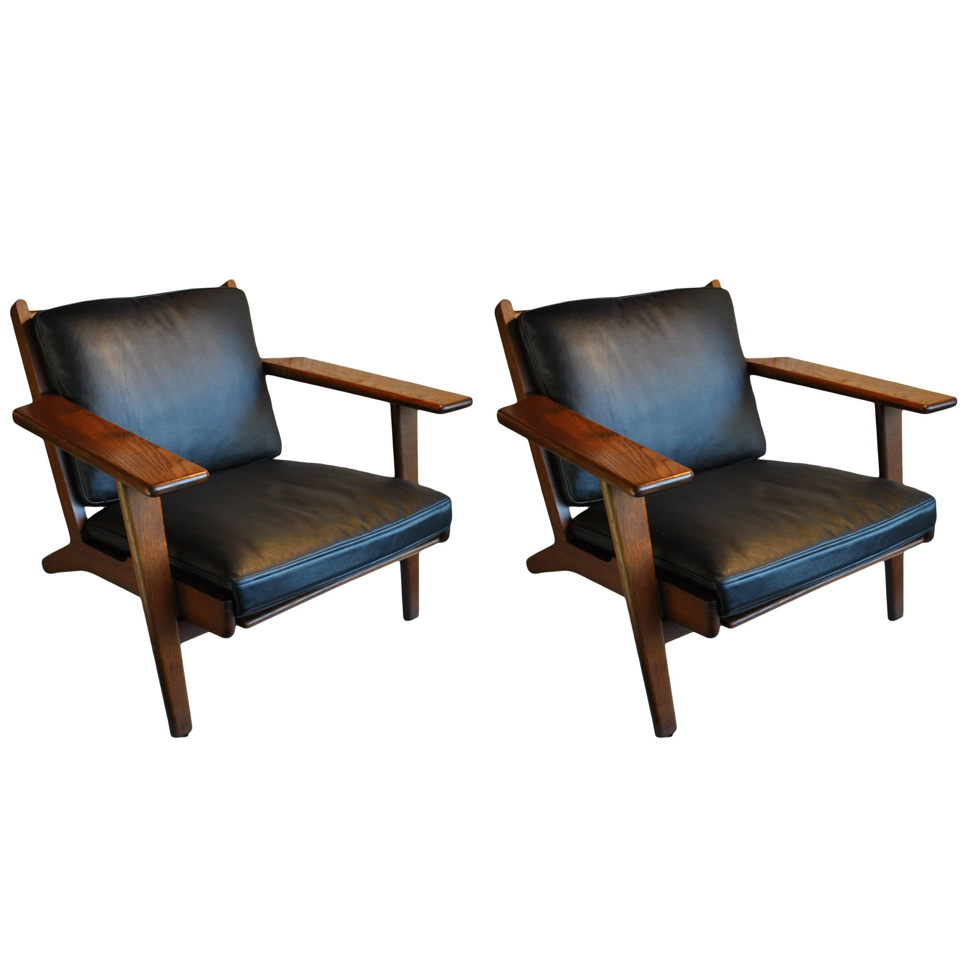 Refurbished Chairs Pair Of Hans J Wegner Ge290 Lounge Chairs Fumed Oak Fully Refurbished