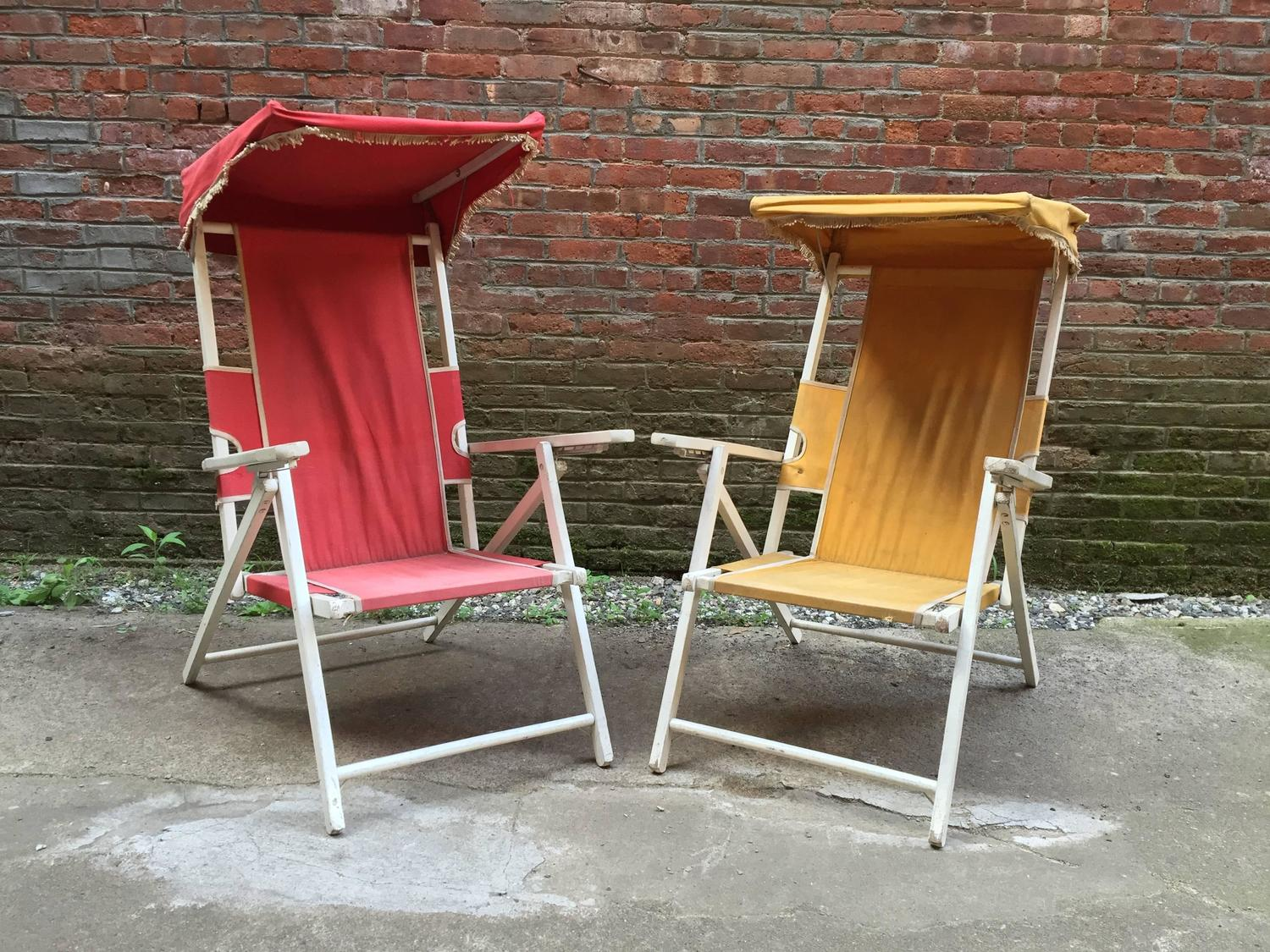Cabana Chair Vintage Hamptons Folding Cabana Chairs For Sale At 1stdibs