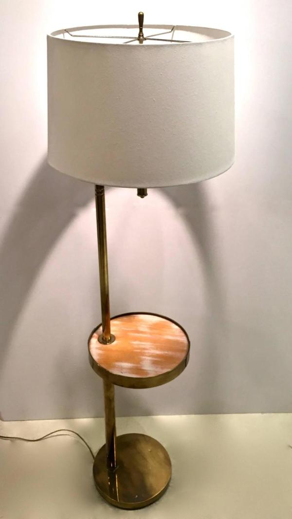 Mid-century Brass Floor Lamp With Swivel Cerused Wood
