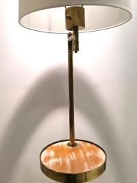 Mid-Century Brass Floor Lamp, with Swivel Cerused Wood ...