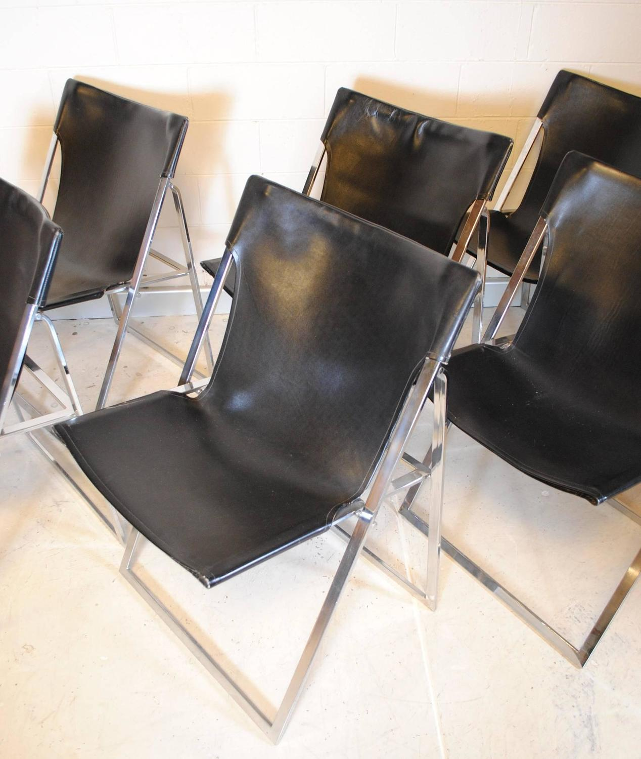 chrome dining chairs australia graco rocking chair set of six vintage french and leather at 1stdibs