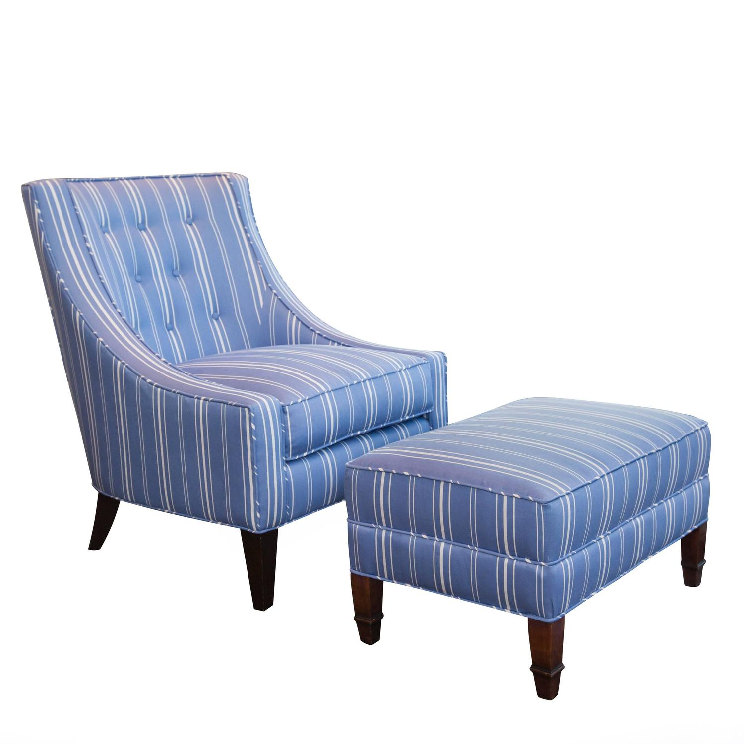 Blue And White Chair Blue And White Upholstered Lounge Chair And Ottoman At 1stdibs