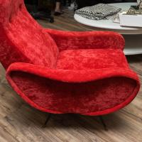 Zanuso Style Lounge Chairs in Red Velvet at 1stdibs